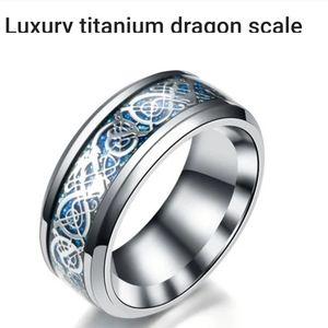 Men's Titanium Dragon Scale Ring Size 12